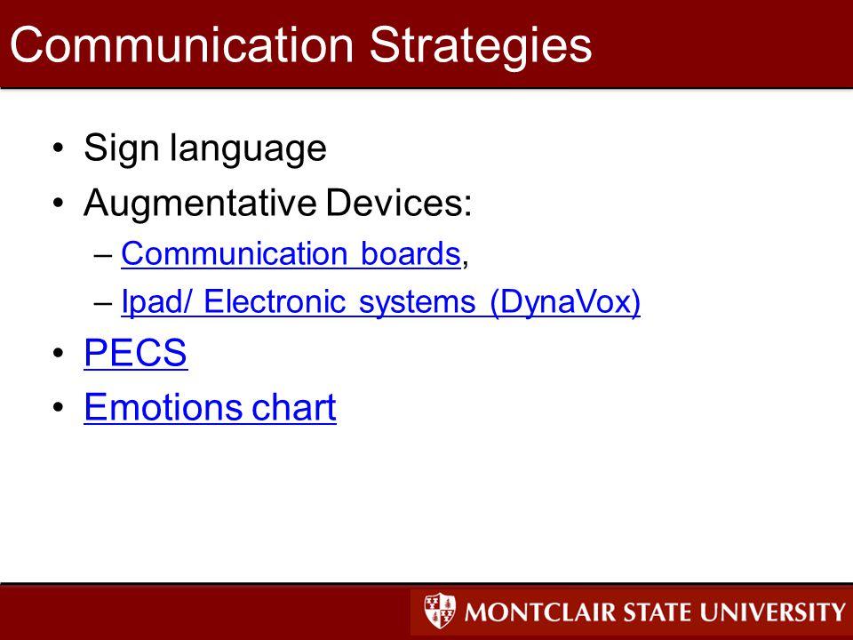 Communication Strategies Sign language Augmentative Devices: –Communication boards,Communication boards –Ipad/ Electronic systems (DynaVox)Ipad/ Electronic systems (DynaVox) PECS Emotions chart