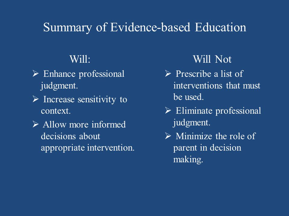 Summary of Evidence-based Education Will:  Enhance professional judgment.  Increase sensitivity to context.  Allow more informed decisions about ap