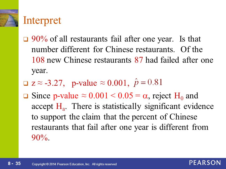 8 - 35 Copyright © 2014 Pearson Education, Inc. All rights reserved Interpret  90% of all restaurants fail after one year. Is that number different f