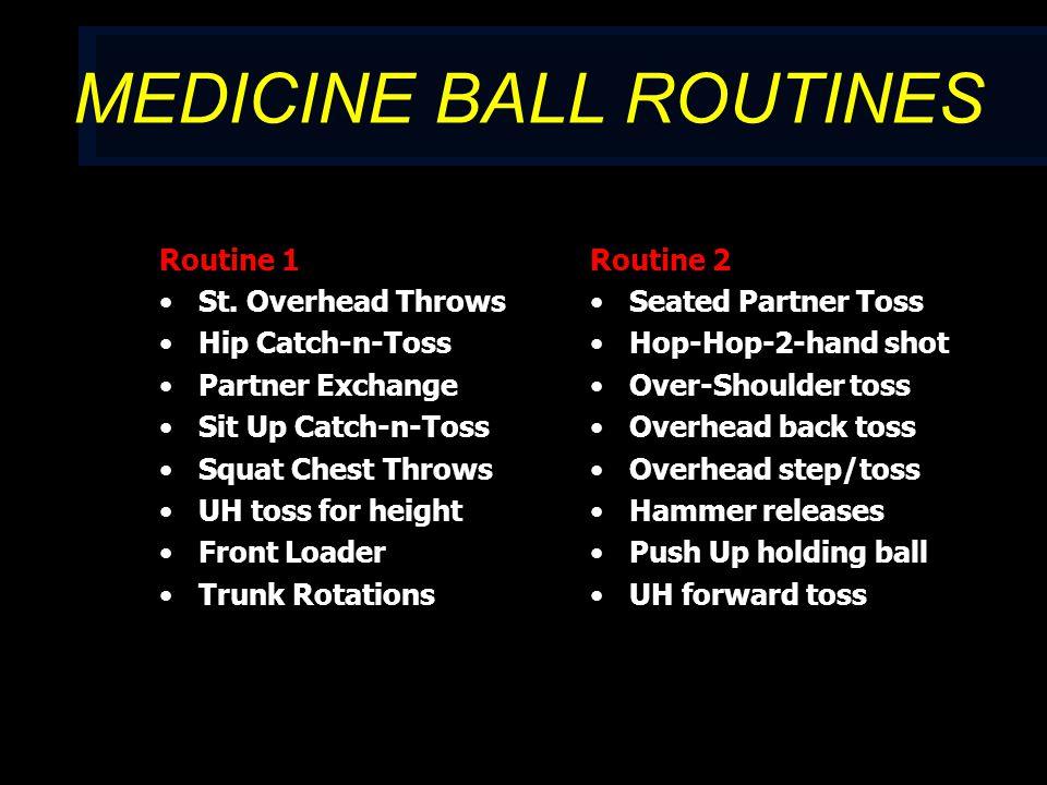 MEDICINE BALL ROUTINES Routine 1 St.