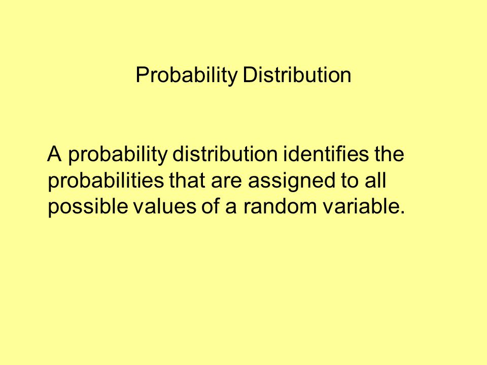 Probability Distribution A probability distribution identifies the probabilities that are assigned to all possible values of a random variable.