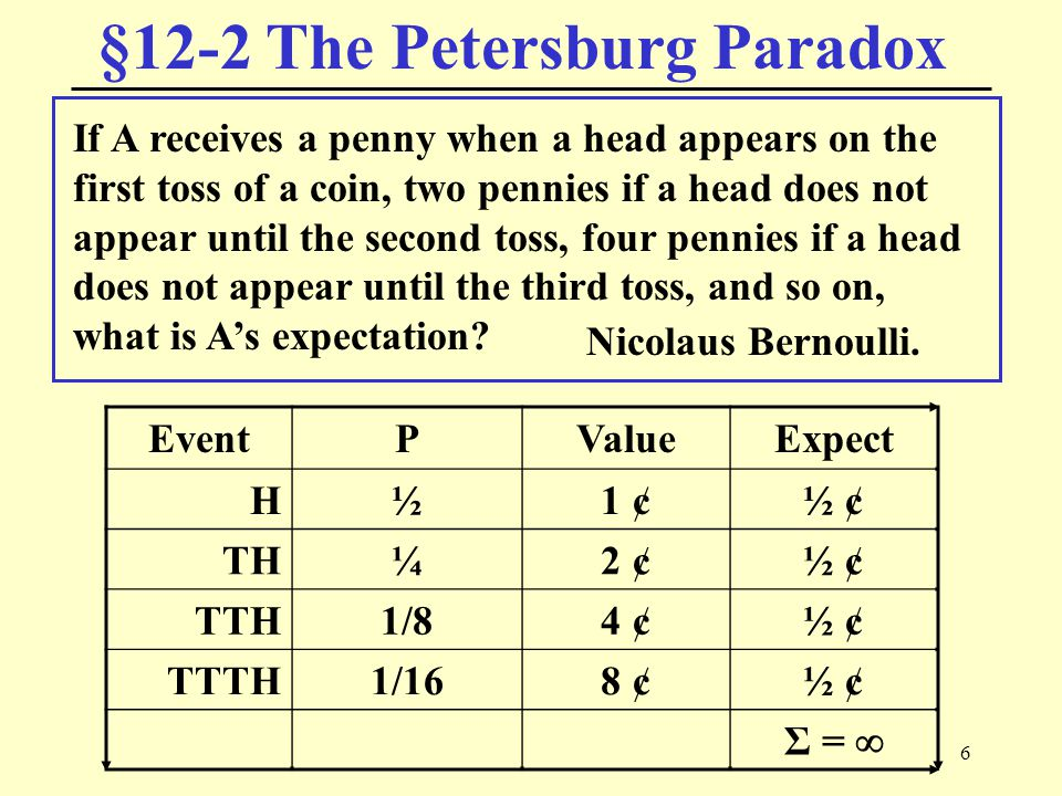 6 §12-2 The Petersburg Paradox Nicolaus Bernoulli. If A receives a penny when a head appears on the first toss of a coin, two pennies if a head does n