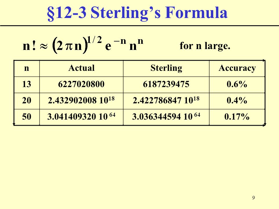 9 §12-3 Sterling's Formula for n large. nActualSterlingAccuracy 13622702080061872394750.6% 202.432902008 10 18 2.422786847 10 18 0.4% 503.041409320 10