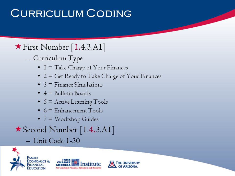 Curriculum Coding  First Number [1.4.3.A1] –Curriculum Type 1 = Take Charge of Your Finances 2 = Get Ready to Take Charge of Your Finances 3 = Financ