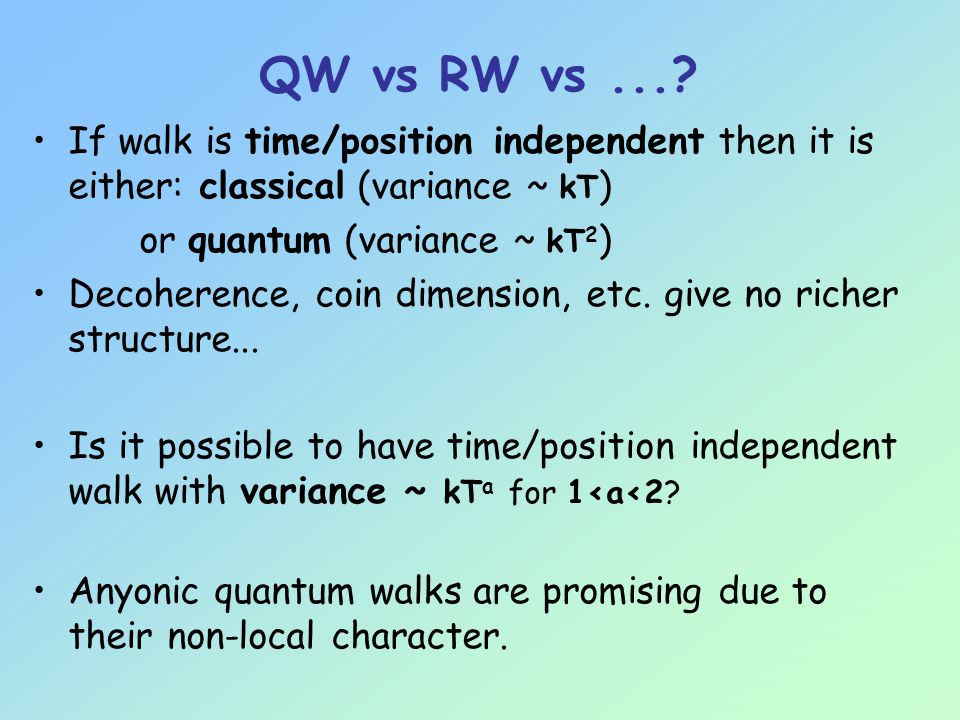 QW vs RW vs....