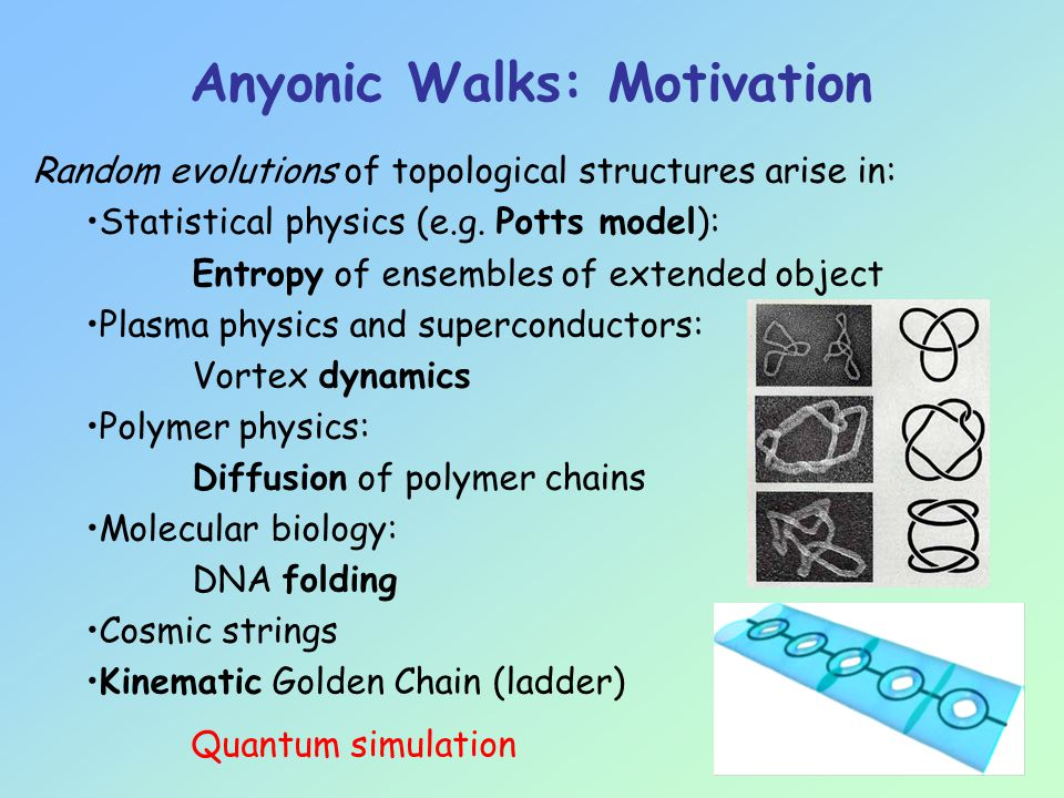 Random evolutions of topological structures arise in: Statistical physics (e.g.