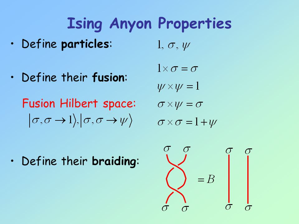 Ising Anyon Properties Assume we can: –Create identifiable anyons pair creation –Braid anyons Statistical evolution: braid representation B –Fuse anyons time