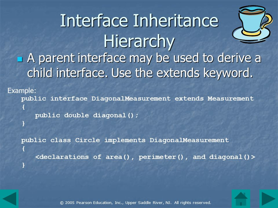 © 2005 Pearson Education, Inc., Upper Saddle River, NJ. All rights reserved. Interface Inheritance Hierarchy A parent interface may be used to derive