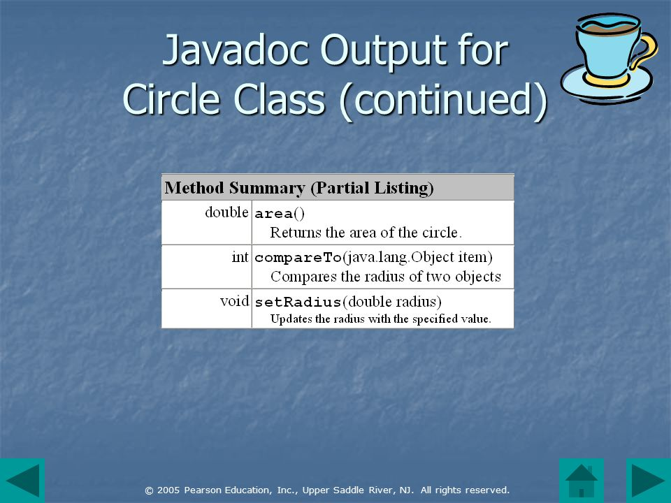 © 2005 Pearson Education, Inc., Upper Saddle River, NJ. All rights reserved. Javadoc Output for Circle Class (continued)
