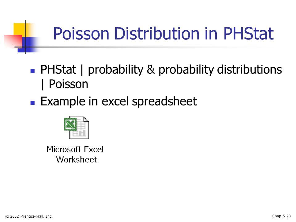 © 2002 Prentice-Hall, Inc. Chap 5-23 Poisson Distribution in PHStat PHStat   probability & probability distributions   Poisson Example in excel spread