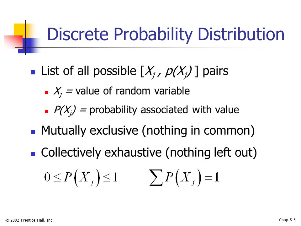 © 2002 Prentice-Hall, Inc. Chap 5-6 Discrete Probability Distribution List of all possible [X j, p(X j ) ] pairs X j = value of random variable P(X j