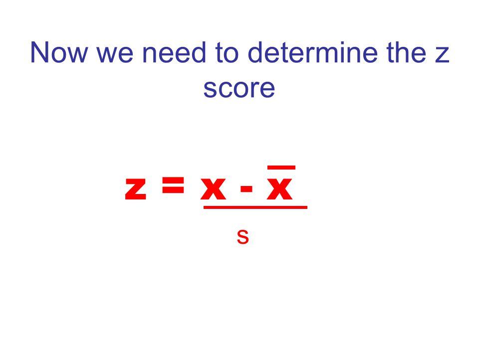 Now we need to determine the z score z = x - x s