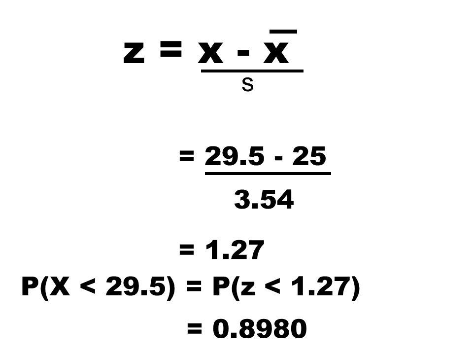 z = x - x = 29.5 - 25 3.54 = 1.27 P(X < 29.5) = P(z < 1.27) = 0.8980 s