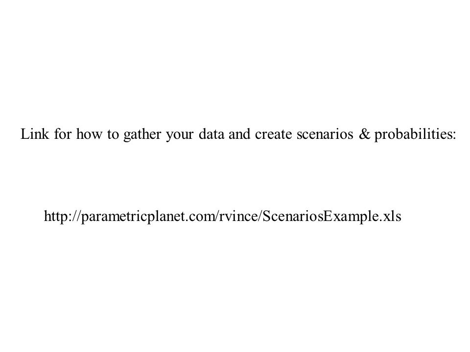 http://parametricplanet.com/rvince/ScenariosExample.xls Link for how to gather your data and create scenarios & probabilities: