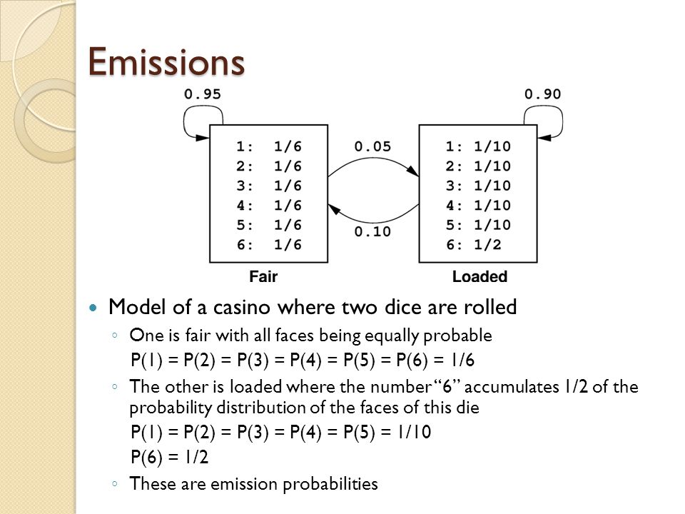 Emissions Model of a casino where two dice are rolled ◦ One is fair with all faces being equally probable P(1) = P(2) = P(3) = P(4) = P(5) = P(6) = 1/6 ◦ The other is loaded where the number 6 accumulates 1/2 of the probability distribution of the faces of this die P(1) = P(2) = P(3) = P(4) = P(5) = 1/10 P(6) = 1/2 ◦ These are emission probabilities