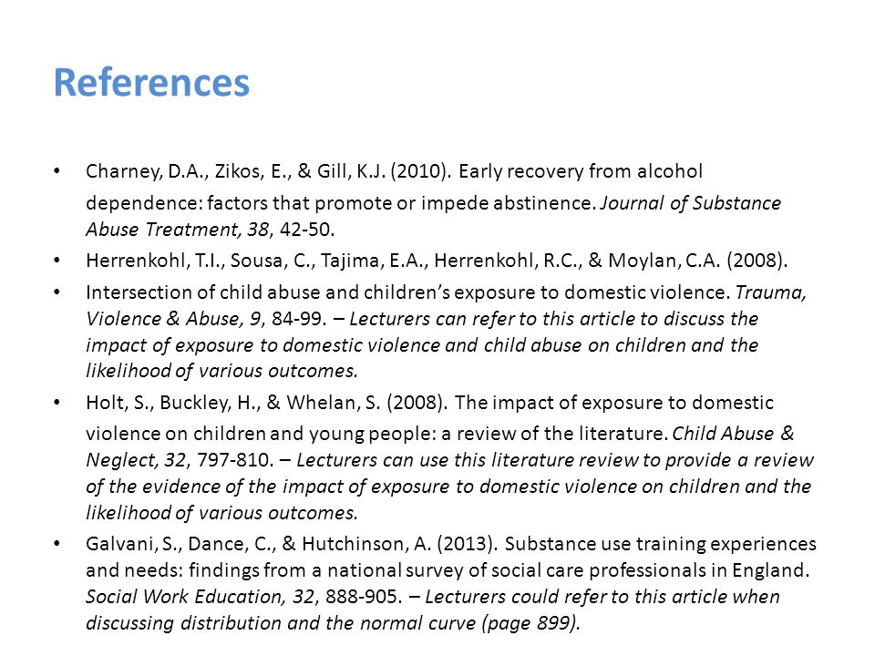 References Charney, D.A., Zikos, E., & Gill, K.J. (2010).