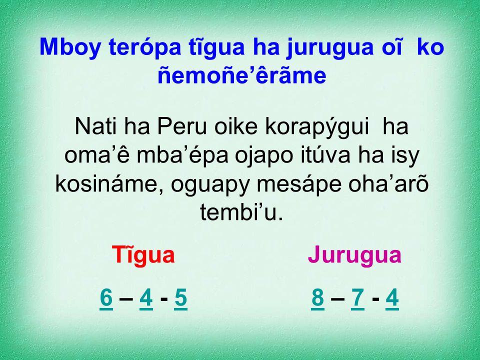 Ha'e umi tero oguerekóva pu'ae jurugua (a, e, i, o, u, y ), têrã pundie jurugua (ch, g, h, j, k, l, p, r, rr, s, t, v, puso)ipype Ani oguerekova'erã p