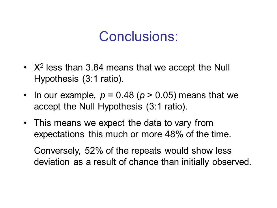 Conclusions: X 2 less than 3.84 means that we accept the Null Hypothesis (3:1 ratio).
