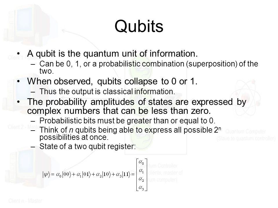 Qubits A qubit is the quantum unit of information.