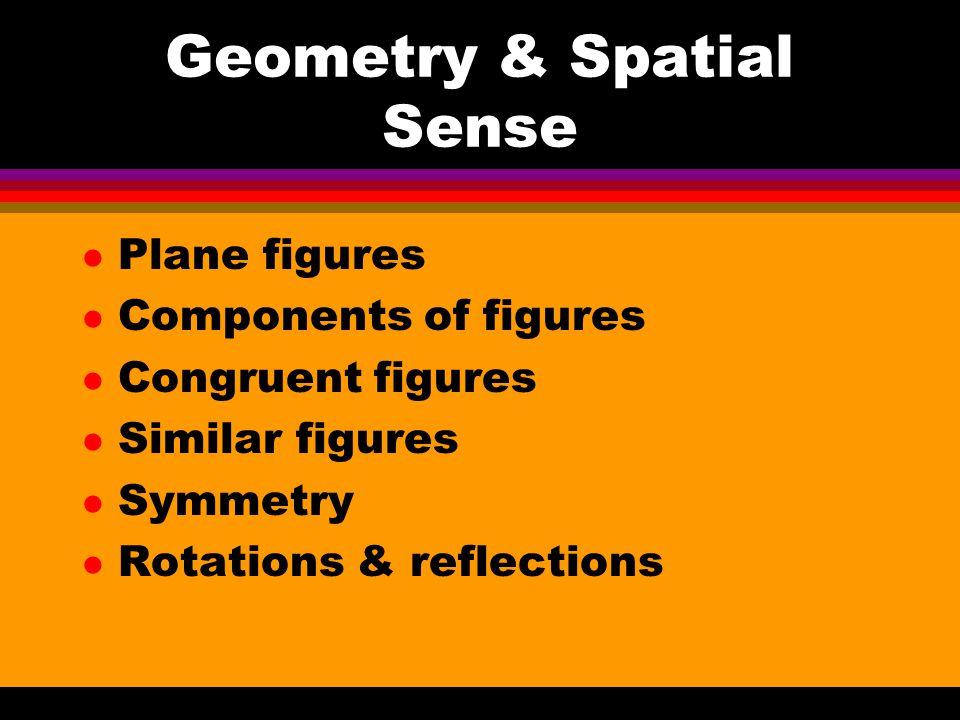 Geometry & Spatial Sense l Plane figures l Components of figures l Congruent figures l Similar figures l Symmetry l Rotations & reflections