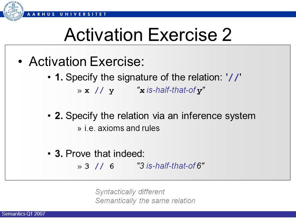 Semantics Q1 2007 Activation Exercise 2 Activation Exercise: 1.