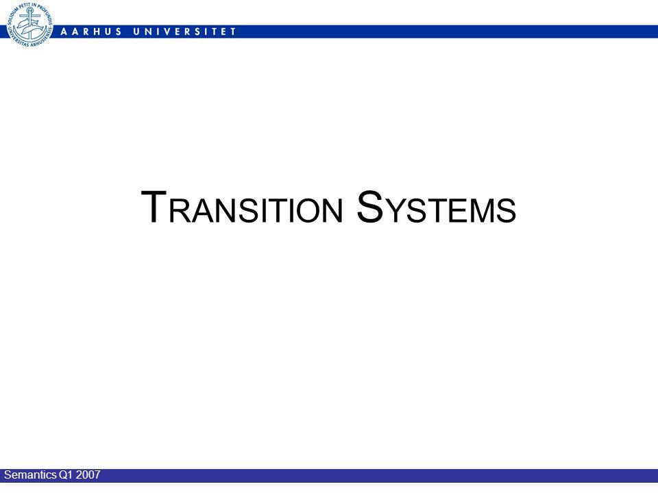 Semantics Q1 2007 T RANSITION S YSTEMS