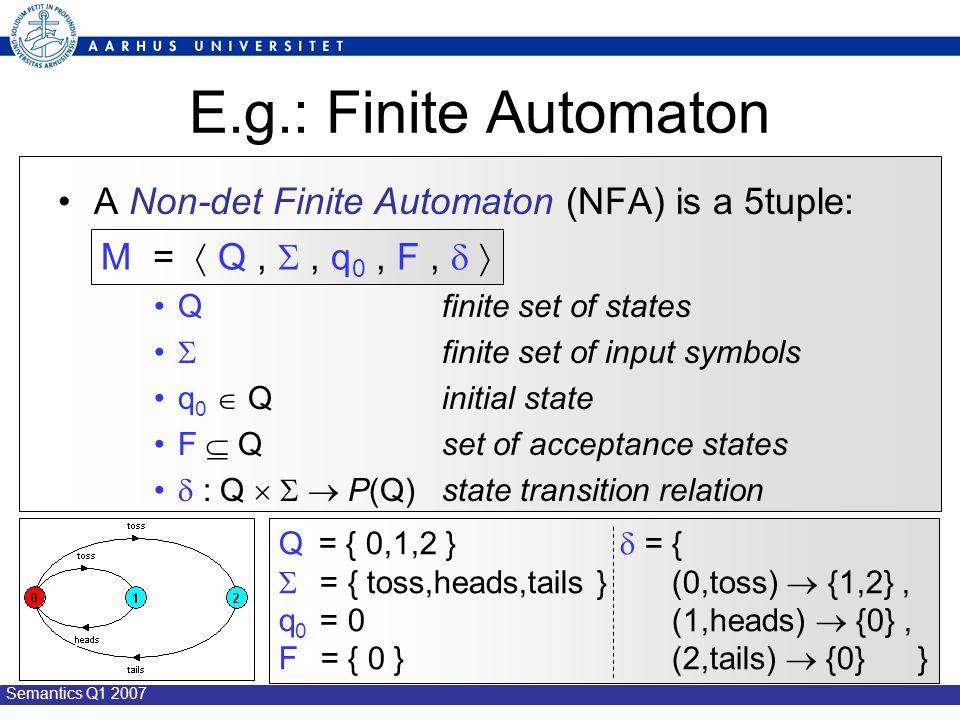 Semantics Q1 2007 E.g.: Finite Automaton A Non-det Finite Automaton (NFA) is a 5tuple: Q finite set of states  finite set of input symbols q 0  Qinitial state F  Qset of acceptance states  : Q    P(Q)state transition relation M =  Q, , q 0, F,   Q = { 0,1,2 }  = {  = { toss,heads,tails } (0,toss)  {1,2}, q 0 = 0 (1,heads)  {0}, F = { 0 } (2,tails)  {0} }