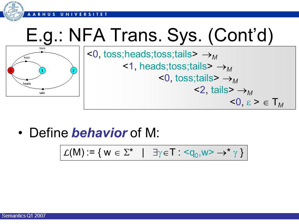 Semantics Q1 2007 E.g.: NFA Trans. Sys.