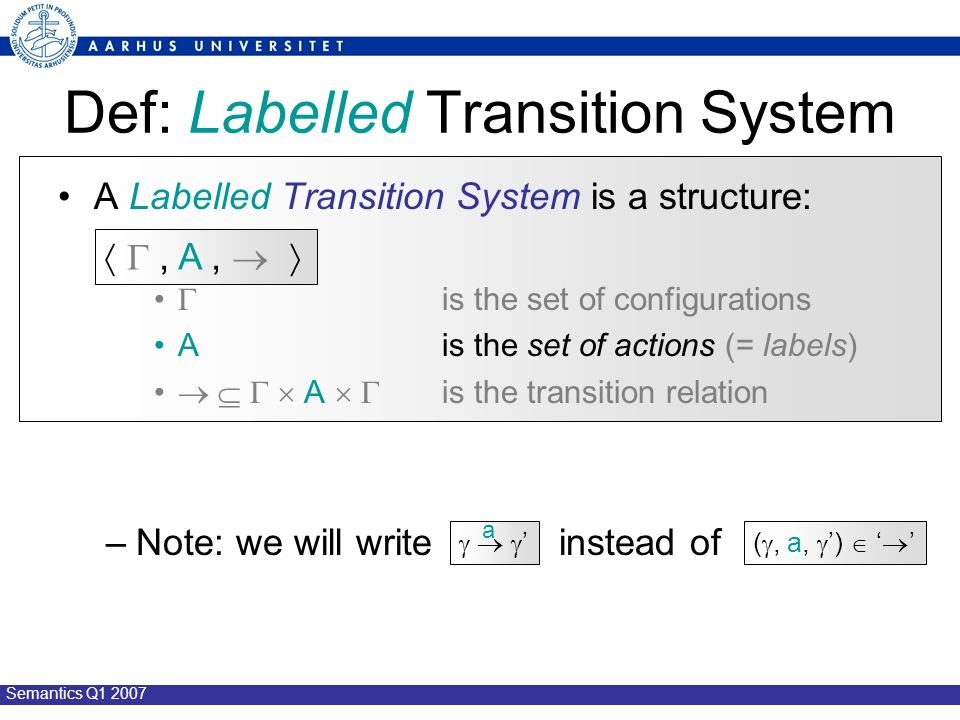Semantics Q1 2007 Def: Labelled Transition System A Labelled Transition System is a structure:  is the set of configurations A is the set of actions (= labels)     A   is the transition relation –Note: we will write instead of  , A,     '  ' a ( , a,  ')  '  '