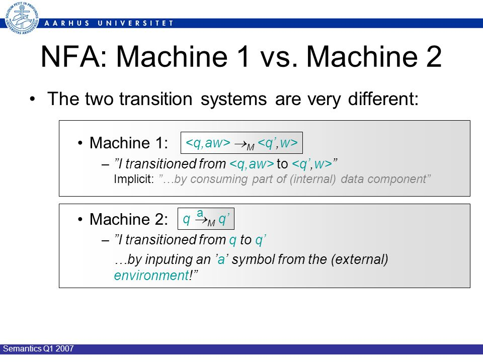 "Semantics Q1 2007 NFA: Machine 1 vs. Machine 2 The two transition systems are very different: Machine 1: –""I transitioned from to "" Implicit: ""…by con"