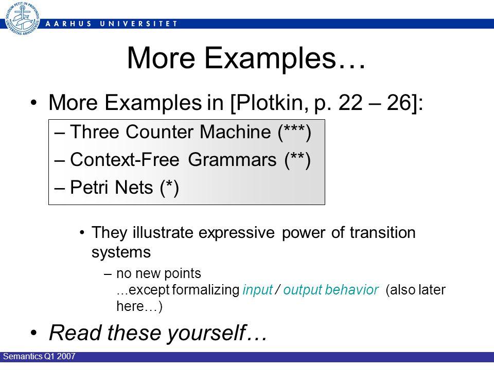 Semantics Q1 2007 More Examples… More Examples in [Plotkin, p.