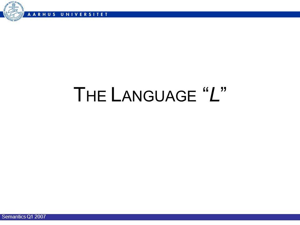 Semantics Q1 2007 T HE L ANGUAGE L