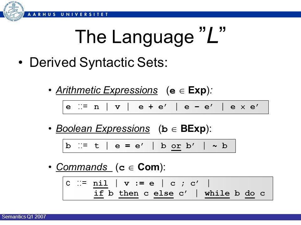 Semantics Q1 2007 The Language L Derived Syntactic Sets: Arithmetic Expressions ( e  Exp): Boolean Expressions ( b  BExp): Commands ( c  Com): e ::= n | v | e + e' | e – e' | e  e' b ::= t | e = e' | b or b' | ~ b c ::= nil | v := e | c ; c' | if b then c else c' | while b do c