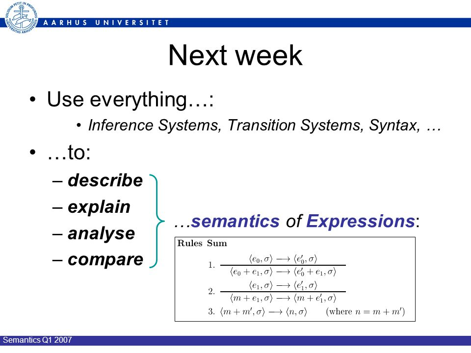 Semantics Q1 2007 Next week Use everything…: Inference Systems, Transition Systems, Syntax, … …to: –describe –explain –analyse –compare …semantics of Expressions: