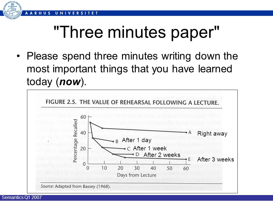 Semantics Q1 2007 Three minutes paper Please spend three minutes writing down the most important things that you have learned today (now).