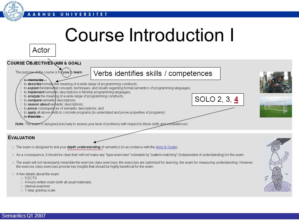 Semantics Q1 2007 Course Introduction I SOLO 2, 3, 4 Verbs identifies skills / competences Actor