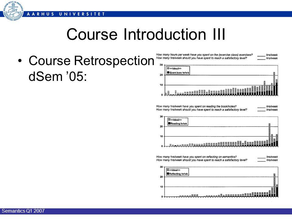 Semantics Q1 2007 Course Introduction III Course Retrospection dSem '05: