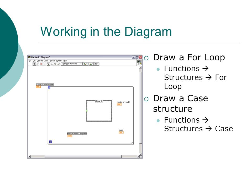 Working in the Diagram  Draw a For Loop Functions  Structures  For Loop  Draw a Case structure Functions  Structures  Case
