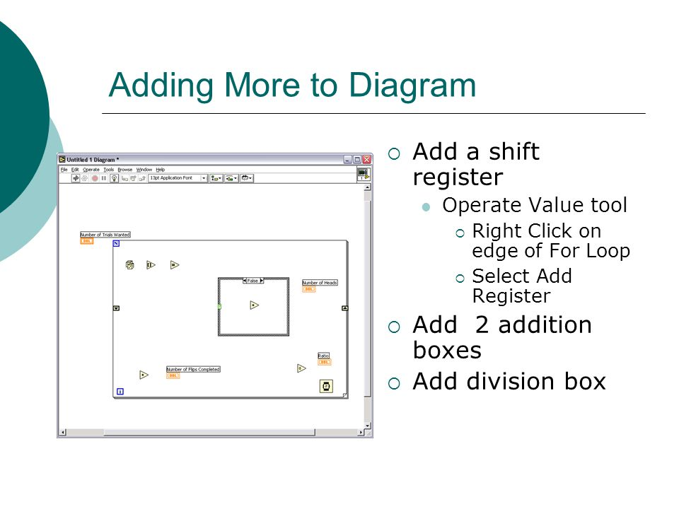 Adding More to Diagram  Add a shift register Operate Value tool  Right Click on edge of For Loop  Select Add Register  Add 2 addition boxes  Add