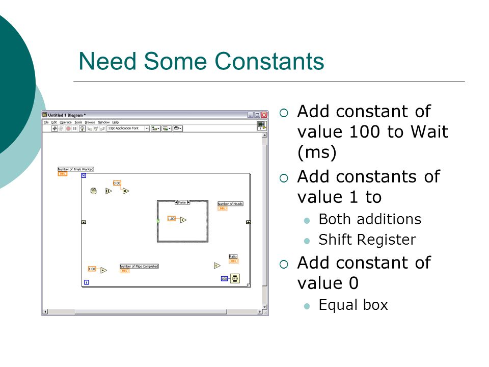 Need Some Constants  Add constant of value 100 to Wait (ms)  Add constants of value 1 to Both additions Shift Register  Add constant of value 0 Equ