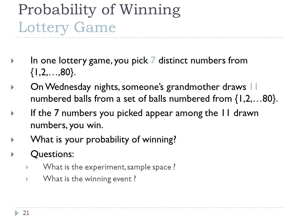Probability of Winning Lottery Game  In one lottery game, you pick 7 distinct numbers from {1,2,…,80}.