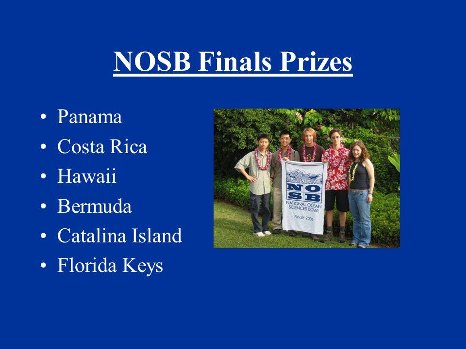 NOSB Finals Prizes Panama Costa Rica Hawaii Bermuda Catalina Island Florida Keys