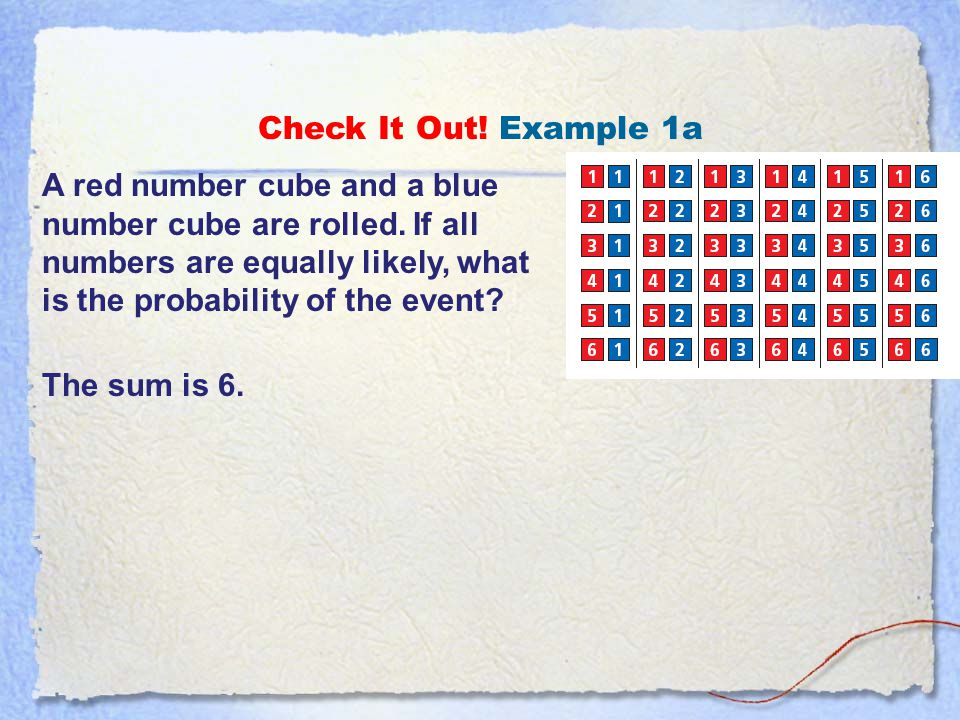 Example 1B: Finding Theoretical Probability Two number cubes are rolled.