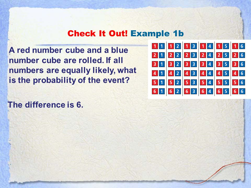 Check It Out.Example 1a A red number cube and a blue number cube are rolled.