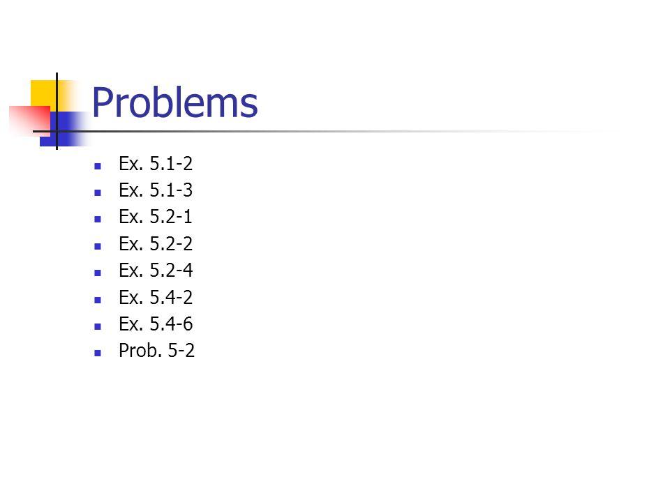 Problems Ex. 5.1-2 Ex. 5.1-3 Ex. 5.2-1 Ex. 5.2-2 Ex. 5.2-4 Ex. 5.4-2 Ex. 5.4-6 Prob. 5-2