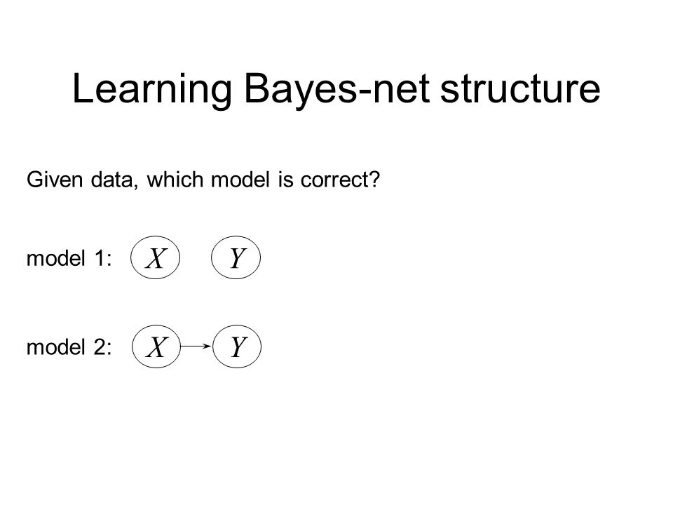 Learning Bayes-net structure Given data, which model is correct? XY model 1: XY model 2: