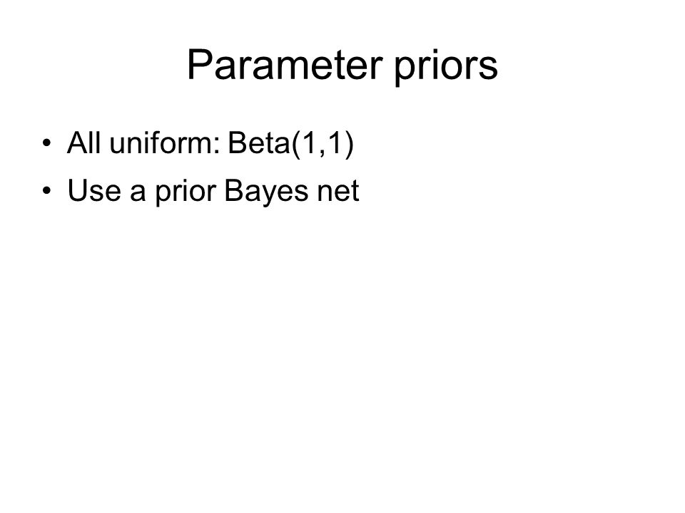 Parameter priors All uniform: Beta(1,1) Use a prior Bayes net