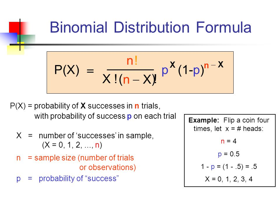P(X) = probability of X successes in n trials, with probability of success p on each trial X = number of 'successes' in sample, (X = 0, 1, 2,..., n) n = sample size (number of trials or observations) p = probability of success P(X) n X .