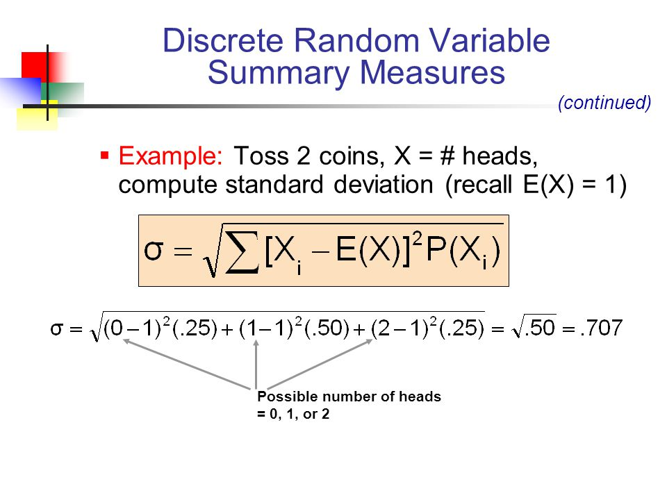  Example: Toss 2 coins, X = # heads, compute standard deviation (recall E(X) = 1) Discrete Random Variable Summary Measures (continued) Possible number of heads = 0, 1, or 2