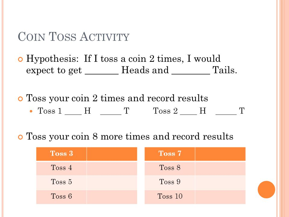 C OIN T OSS A CTIVITY Hypothesis: If I toss a coin 2 times, I would expect to get _______ Heads and ________ Tails.